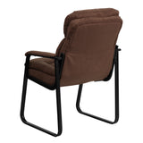 Brown Microfiber Executive Side Reception Chair with Sled Base - OfficeChairCity.com