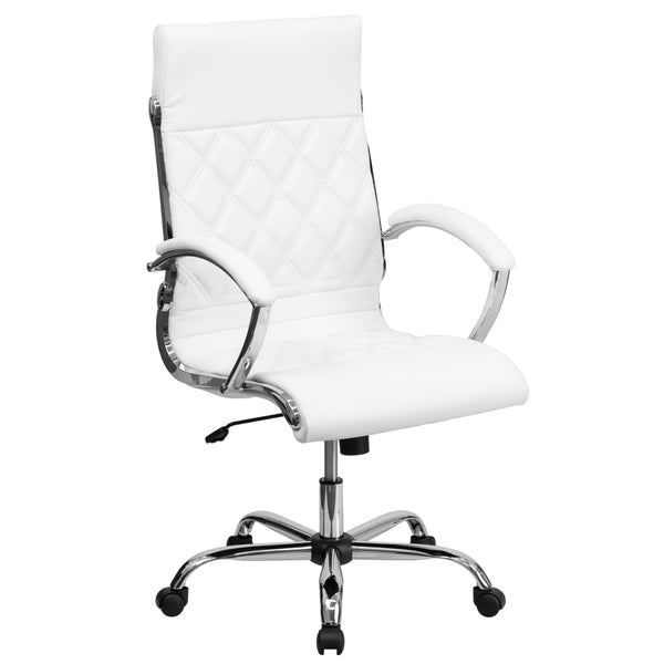 This elegantly designed chair features durable leather upholstery with an attractive stitch design and a chrome frame that leads in attractiveness. High back office chairs have backs extending to the upper back for greater support. The high back design relieves tension in the lower back, preventing long term strain. The comfort molded seat has built-in lumbar support. The tilt lock mechanism offers a comfortable rocking/reclining motion. The free rein motion is great for taking a quick break from typing to