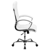 High Back Designer White Leather Executive Swivel Chair with Chrome Base and Arms - OfficeChairCity.com