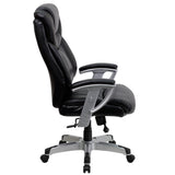 HERCULES Series Big & Tall 400 lb. Rated Black Leather Executive Swivel Chair with Adjustable Arms - OfficeChairCity.com