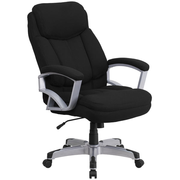 Finding a comfortable chair is essential when sitting for long periods at a time. Big & Tall office chairs are designed to accommodate larger and taller body types. This chair has been tested to hold a capacity of up to 500 lbs., offering a broader seat and back width. High back office chairs have backs extending to the upper back for greater support. The high back design relieves tension in the lower back, preventing long term strain. This office chair features plenty of thick, plush padding to provide gre