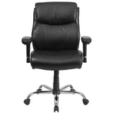 HERCULES Series Big & Tall 400 lb. Rated Black Leather Swivel Task Chair with Adjustable Arms - OfficeChairCity.com