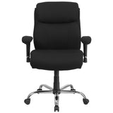 HERCULES Series Big & Tall 400 lb. Rated Black Fabric Swivel Task Chair with Adjustable Arms - OfficeChairCity.com