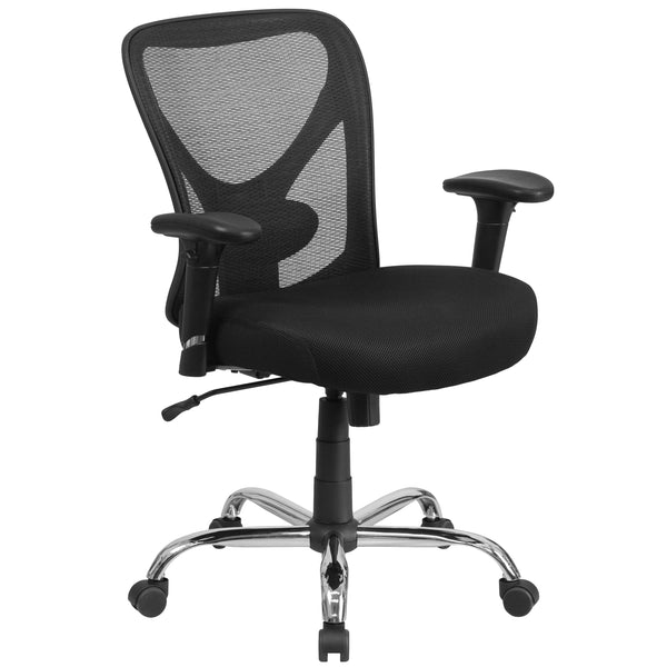 Big & Tall office chairs are designed to accommodate larger and taller body types. This chair has been tested to hold a capacity of up to 400 lbs., offering a broader seat and back width. A mid-back office chair offers support to the mid-to-upper back region. The breathable mesh material allows air to circulate to keep you cool while sitting. The contoured backrest provides firm back support allowing your back to rest comfortably. The contoured seat dissipates pressure points for greater comfort. The waterf