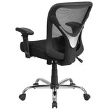 HERCULES Series Big & Tall 400 lb. Rated Black Mesh Swivel Task Chair with Height Adjustable Back and Arms - OfficeChairCity.com