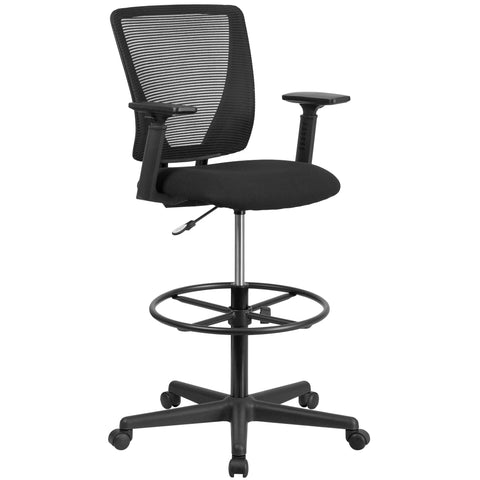 Draft chairs are essential for any profession where work surfaces are above standard height, such as lab technicians, architects, graphic artists, or any other creative assignment. They can also make a great chair for any job requiring employees to be at eye contact level with customers, such as receptionists or cashiers. The breathable mesh material allows air to circulate to keep you cool and comfortable. Chair easily swivels 360 degrees to get the maximum use of your workspace without strain. The pneumat