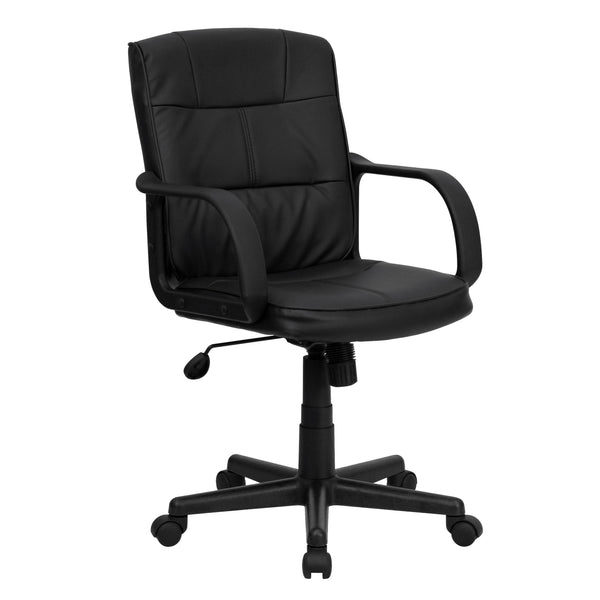 Office Chair City - Mid Back Office Chair, Leather Swivel Chair,Task Chair With Arms