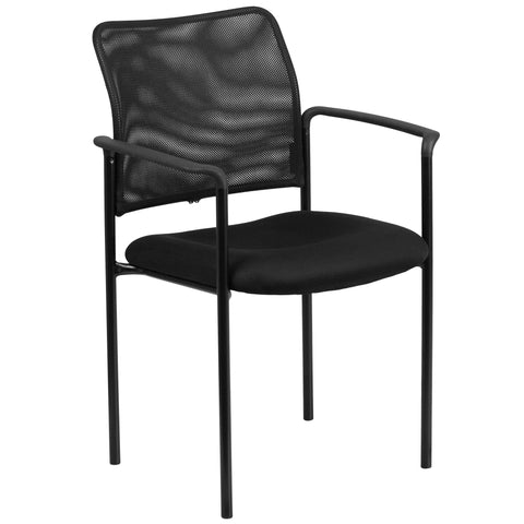 Create a comfortable setting for your guests that will make waiting or meetings more pleasant. This side chair will bring a big presence to your space without overcrowding. The flexible, ventilated mesh has built-in lumbar support for a comfortable sitting experience. With the ability to quickly store the chairs, it allows for the space to be used again for other purposes or when cleaning is needed.