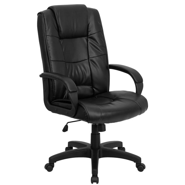 This leather office chair is comfortably designed to get you through your work day or to keep you comfortable while browsing the internet. High back office chairs have backs extending to the upper back for greater support. The high back design relieves tension in the lower back, preventing long term strain. The contoured seat dissipates pressure points for greater comfort. Chair easily swivels 360 degrees to get the maximum use of your workspace without strain. The pneumatic adjustment lever will allow you