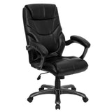 This attractively designed leather office chair provides a professional appearance to complement your office or home. This chair features an ergonomically contoured back and seat and arms that are comfortably padded. High back office chairs have backs extending to the upper back for greater support. The high back design relieves tension in the lower back, preventing long term strain. The waterfall front seat edge removes pressure from the lower legs and improves circulation. Chair easily swivels 360 degrees