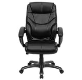 High Back Black Leather Overstuffed Executive Swivel Chair with Arms - OfficeChairCity.com