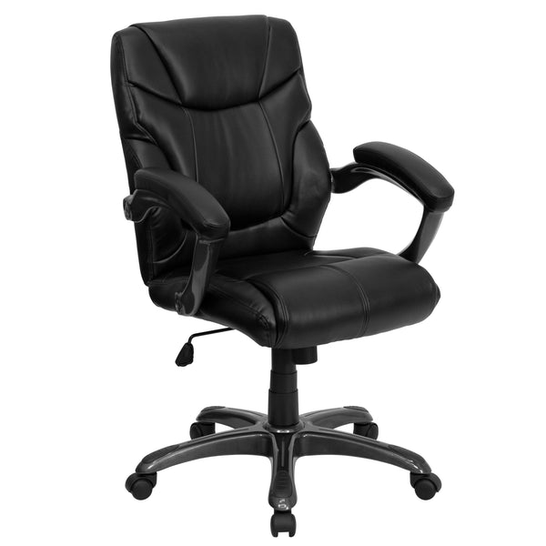 This attractively designed leather office chair provides a professional appearance to complement your office or home. This chair features an ergonomically contoured back and seat and arms that are comfortably padded. Mid-back office chairs are the logical choice for performing an array of tasks. A mid-back office chair offers support to the mid-to-upper back region. This chair is ideal for anyone who does a great deal of typing throughout the day and needs good back support. The waterfall front seat edge re