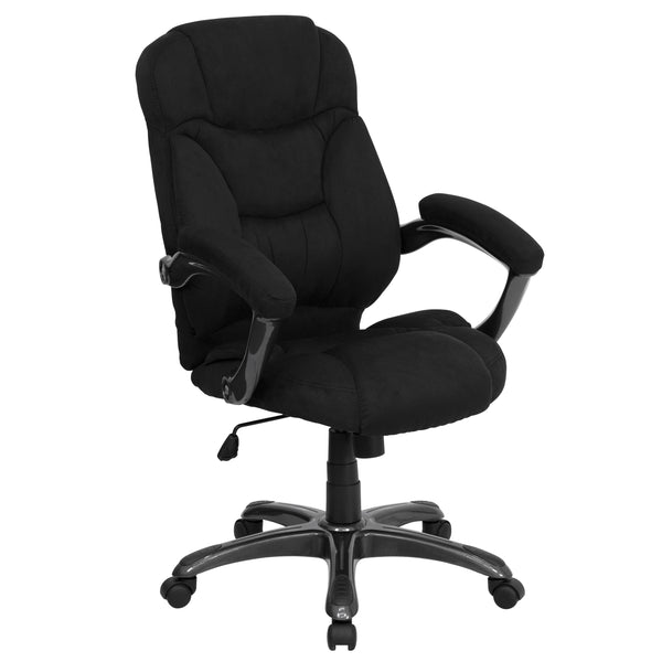 This gracefully designed chair features microfiber upholstery to comfortably get you through your work day or to keep you comfortable while browsing the internet. This chair features an ergonomically contoured back and seat and arms that are comfortably padded. High back office chairs have backs extending to the upper back for greater support. The high back design relieves tension in the lower back, preventing long term strain. The contoured seat dissipates pressure points for greater comfort. The waterfall