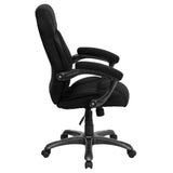 High Back Black Microfiber Contemporary Executive Swivel Chair with Arms - OfficeChairCity.com