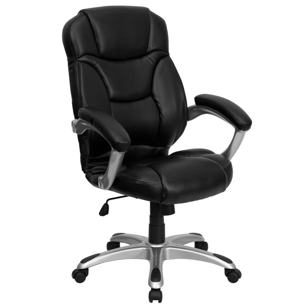 This gracefully designed chair features leather upholstery to comfortably get you through your work day or to keep you comfortable while browsing the internet. This chair features an ergonomically contoured back and seat and arms that are comfortably padded. High back office chairs have backs extending to the upper back for greater support. The high back design relieves tension in the lower back, preventing long term strain. The contoured seat dissipates pressure points for greater comfort. The waterfall fr