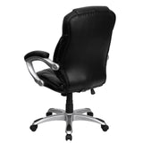 High Back Black Leather Contemporary Executive Swivel Chair with Arms - OfficeChairCity.com