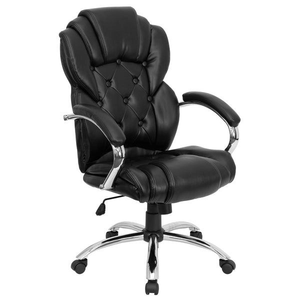 This button tufted executive office chair adds a bit of modern flair to this chair, making it a transitional style. High back office chairs have backs extending to the upper back for greater support. The high back design relieves tension in the lower back, preventing long term strain. The waterfall front seat edge removes pressure from the lower legs and improves circulation. Chair easily swivels 360 degrees to get the maximum use of your workspace without strain. The pneumatic adjustment lever will allow y