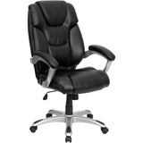 This chic chair features leather upholstery to comfortably get you through your work day or to keep you comfortable while browsing the internet. This chair features an ergonomically contoured back and seat and arms that are comfortably padded. High back office chairs have backs extending to the upper back for greater support. The high back design relieves tension in the lower back, preventing long term strain. The contoured seat dissipates pressure points for greater comfort. Chair easily swivels 360 degree