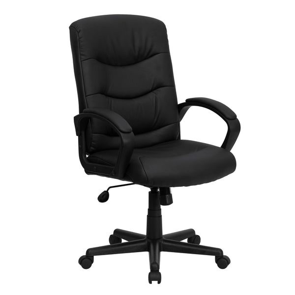The versatility of a task chair can easily transition from a receptionist's desk to the training room. A mid-back office chair offers support to the mid-to-upper back region. Chair easily swivels 360 degrees to get the maximum use of your workspace without strain. The pneumatic adjustment lever will allow you to easily adjust the seat to your desired height. Whether you're purchasing one for your home office or at work, leather chairs make a statement.