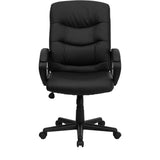 Mid-Back Black Leather Swivel Task Chair with Arms - OfficeChairCity.com