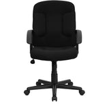 Mid-Back Black Fabric Executive Swivel Chair with Nylon Arms - OfficeChairCity.com