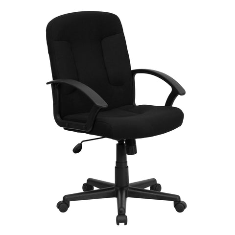 Get comfortable in this office chair while you check off the items on your ''To-Do'' list.The swivel seat is padded with 5 inches of CA117 fire retardant foam and the chair is covered with fabric upholstery. Nylon armrests take pressure off your shoulders and neck. Use the tilt tension adjustment knob to increase or decrease the amount of force needed to rock and recline. Lock the position in place with the tilt lock mechanism. Raise and lower your seat height with the pneumatic seat height adjustment lever