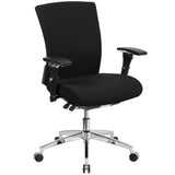 This chair was designed to meet your around the clock needs. Also known as multi-shift task chairs, a 24-hour office chair is designed for extended use or multiple-shift environments. This chair can be used in a 9-5 setting, but it was specifically designed to meet the needs of workers in 911 dispatch offices, nurses' stations, call centers, control room engineers, disc jockeys, and government personnel. This chair has been tested to hold a capacity of up to 300 lbs. This fabric upholstered chair provides a