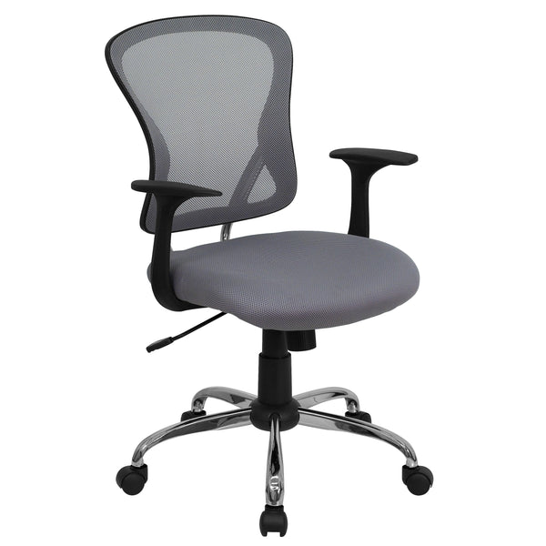 The versatility of a task chair can easily transition and conform in a variety of settings. The breathable mesh back allows air to circulate to keep you cool. The colorfully padded mesh seat will add color to your space as well as keep you comfortable while performing tasks. A mid-back office chair offers support to the mid-to-upper back region. The waterfall front seat edge removes pressure from the lower legs and improves circulation. Chair easily swivels 360 degrees to get the maximum use of your workspa