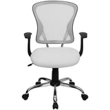 Mid-Back White Mesh Swivel Task Chair with Chrome Base and Arms - OfficeChairCity.com