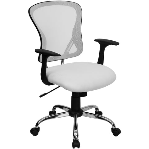 OfficeChairCity.com - White Mid-Back Office Chairs, Contemporary Mesh Task Chair