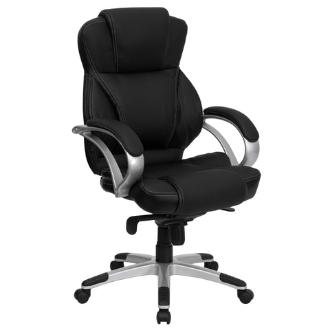 This stylishly designed office chair features leather upholstery with white stitch surrounding to comfortably get you through your work day. This chair features an ergonomically contoured back and seat and arms that are comfortably padded. High back office chairs have backs extending to the upper back for greater support. The high back design relieves tension in the lower back, preventing long term strain. The contoured seat dissipates pressure points for greater comfort. The locking back angle adjustment l