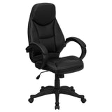 This stylishly designed office chair features leather upholstery with white stitch surrounding to comfortably get you through your work day. This chair features an ergonomically contoured back and seat and arms that are comfortably padded. High back office chairs have backs extending to the upper back for greater support. The high back design relieves tension in the lower back, preventing long term strain. The waterfall front seat edge removes pressure from the lower legs and improves circulation. Chair eas