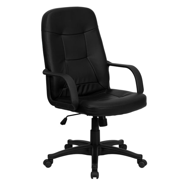 This vinyl upholstered office chair is a great option for your office or home. Mid-back office chairs are the logical choice for performing an array of tasks. High back office chairs have backs extending to the upper back for greater support. The high back design relieves tension in the lower back, preventing long term strain. The waterfall front seat edge removes pressure from the lower legs and improves circulation. Chair easily swivels 360 degrees to get the maximum use of your workspace without strain.