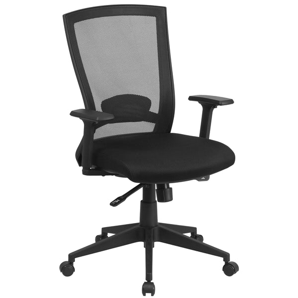 Mesh office chairs can keep you more productive throughout your work day with its comfort and ventilated design. The breathable mesh material allows air to circulate to keep you cool while sitting. The mid-back design offers support to the mid-to-upper back region. From behind the desk to the meeting room this chair can provide a seamless addition to your work space. The locking back angle adjustment lever changes the angle of your torso to reduce disc pressure. The waterfall front seat edge removes pressur