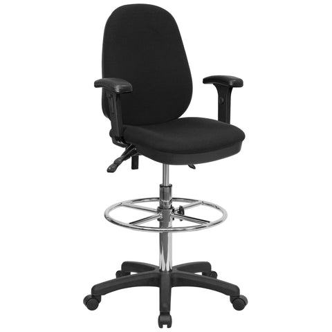 Draft chairs are essential for any profession where work surfaces are above standard height, such as lab technicians, architects, graphic artists, or any other creative assignment. They can also make a great chair for any job requiring employees to be at eye contact level with customers, such as receptionists or cashiers. The locking back angle adjustment lever changes the angle of your torso to reduce disc pressure. Chair easily swivels 360 degrees to get the maximum use of your workspace without strain. T