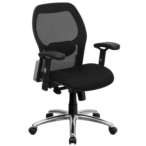 OfficeChairCity.com - Black Mesh Swivel Chair With Adjustable Arms