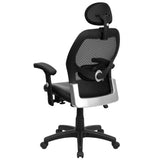 High Back Black Super Mesh Executive Swivel Chair with Leather Seat and Adjustable Arms - OfficeChairCity.com