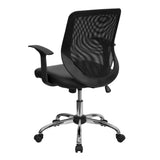 Mid-Back Black Mesh Swivel Task Chair with Leather Seat and Arms - OfficeChairCity.com