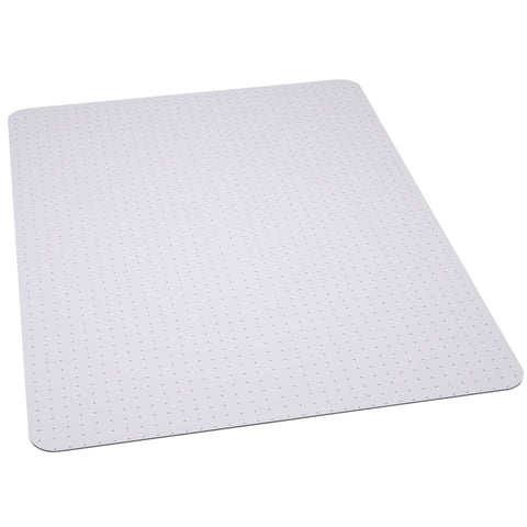 Chair mats are an essential component when furnishing your work or home office. Purchasing a chair mat is a worthwhile investment for assurance that your floors will be protected and are ergonomically beneficial in preventing leg fatigue. Not only do they protect your floors, chair mats offer personal safety with ease of mobility and provide a clean appearance. This carpet chairmat features a scuff and slip resistant textured top and small studded anchors on back to properly grip carpet.