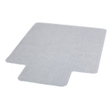 This clear vinyl, commercial grade chair mat is designed to help your chair roll easily on carpeted floors and prevent carpet wear caused by chair casters. It features a scuff and slip resistant top surface for durability and safety. The underside has a gripper back to firmly anchor the chair mat on low pile carpet, protecting your carpet from spills and damage. The mat includes a protruding lip to protect the carpet under the desk and allow the chair to roll even when it's all the way under the desk.
