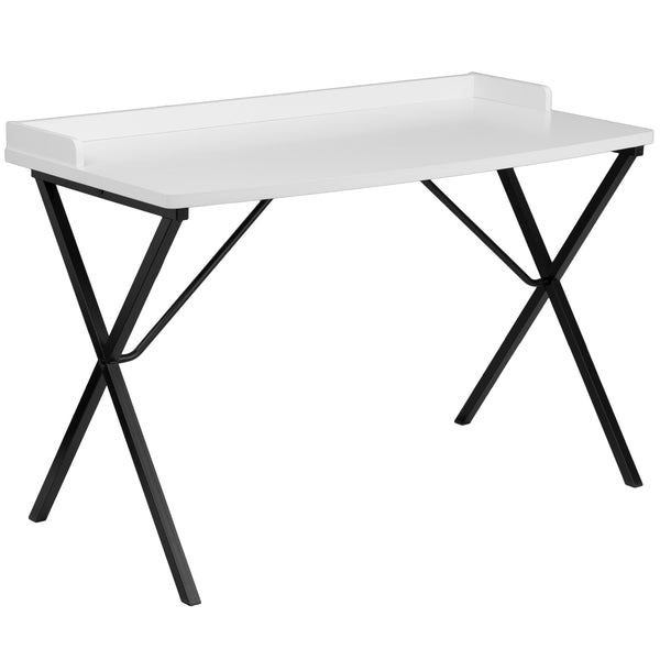 This large surface writing desk will provide you enough space for your laptop and writing materials. The raised rim will prevent papers from easily falling off the edge of the table. This desk provides a great option for managing daily household bills or for casual computer usage. The simple design of this desk allows it to easily fit into any work space.