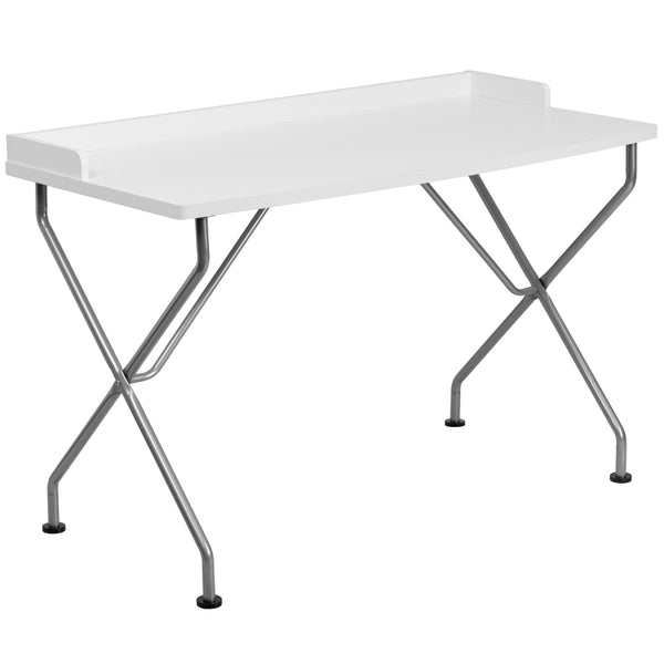 This large surface writing desk will provide you enough space for your laptop and writing materials. The raised rim will permit papers from easily falling off the edge of the table. This desk provides a great option for managing daily household bills or for casual computer usage. The simple design of this desk allows it to easily fit into any work space.