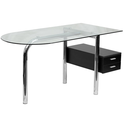 This contemporary glass desk not only gives you ample work space with its massive glass top, but includes a two drawer pedestal. Neatly store away small items and papers to keep your work space neat and clear of clutter. Investing in a desk for your home makes working from home or managing household bills and paperwork a nicer experience.