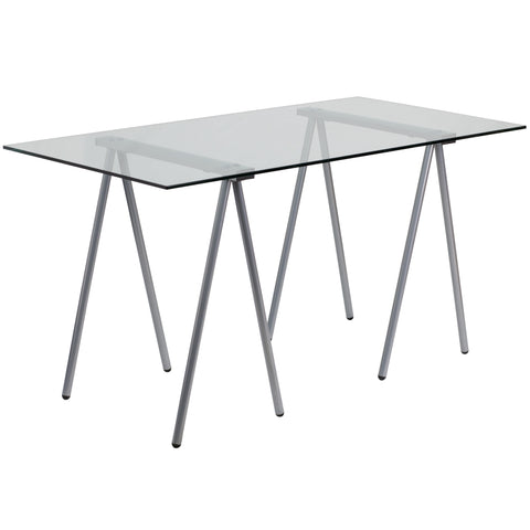 Office Chair City - Glass Computer Desk with Silver Frame Finish