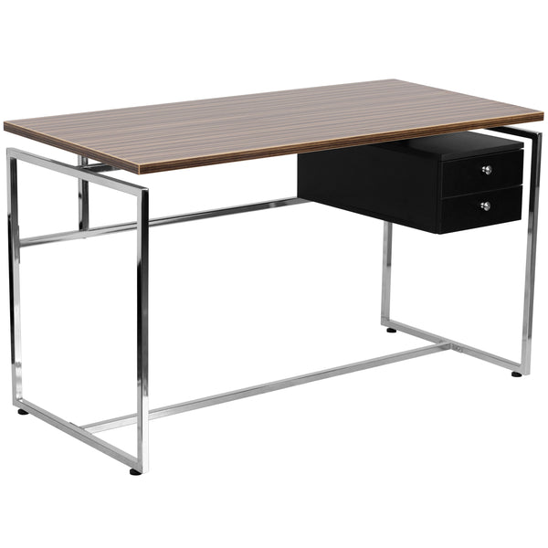 This attractive walnut laminate desk provides plenty of work space with its large work surface. The two drawer pedestal allows you to neatly store away small items and paperwork. Investing in a desk for your home makes working from home or managing household bills and paperwork a nicer experience. The appealing design of this desk will complement any work space.