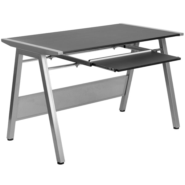 This attractive computer desk provides a large work surface to allow you to use your computer and writing materials with room to spare. The frame connects with the table top and offers a modern design. The keyboard extends out far enough if you prefer to use this as a writing surface in conjunction with your laptop. Investing in a desk for your home makes working from home or managing household bills and paperwork a nicer experience.