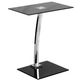 Laptop Computer Desk with Silk Black Tempered Glass Top - OfficeChairCity.com