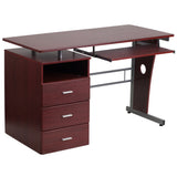 Mahogany Desk with Three Drawer Pedestal and Pull-Out Keyboard Tray - OfficeChairCity.com