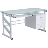 This glass desk features a beautiful frosted surface and a hanging three box drawer pedestal to store all of your essential materials. The pull-out keyboard platform can store your keyboard away when no longer needed for a clean appearance. Investing in a desk for your home makes working from home or managing household bills and paperwork a nicer experience.