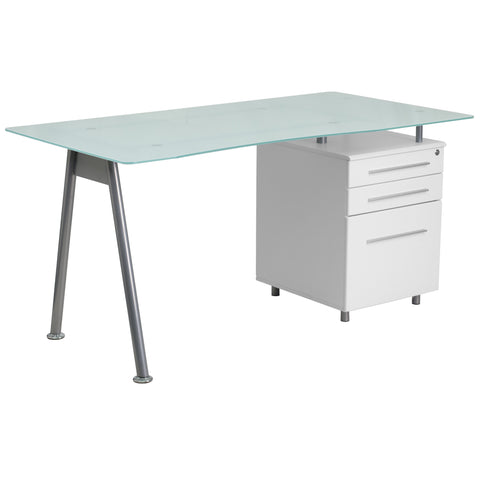 This White Computer Desk combines glass and white wood for a contemporary look.The desk features a beveled desktop made from frosted tempered glass and an accenting silver powder coated frame. A white, three drawer pedestal with handsome silver bar pulls keeps your paperwork organized while you're working and secure when you're away. The top drawer locks with a key. Self-leveling floor glides keep the desk from wobbling on uneven floor surfaces and protect your floor by sliding easily when you want to move
